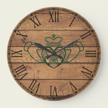 Rustic Celtic Claddagh Large Clock