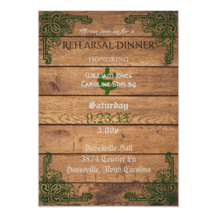 Rustic Celtic Claddagh Rehearsal Dinner Invitation at Zazzle