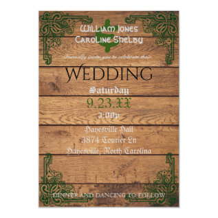 Rustic Celtic Claddagh Wedding Invitation at Zazzle