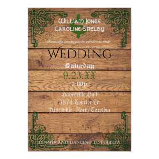 Rustic Celtic Claddagh Wedding Invitation