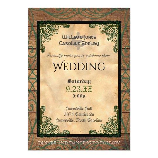 Rustic Celtic Claddagh Wedding Invitation Zazzle Com