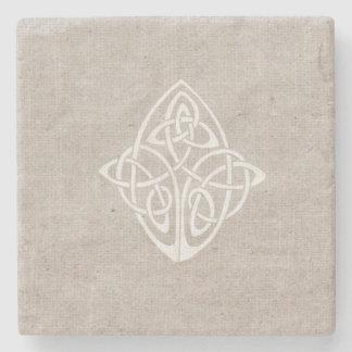 Rustic celtic knot pattern stone coaster