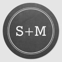 Rustic Chalkboard 2 Letter Monogram Initials Classic Round Sticker