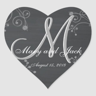 Rustic Chalkboard 3d Monogram Heart Sticker
