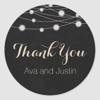 Rustic Chalkboard and String Light Thank You Seal Classic Round Sticker