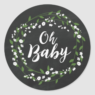 RUSTIC CHALKBOARD BABY SHOWER | BABY'S BREATH CLASSIC ROUND STICKER