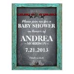 Rustic Chalkboard Baby Shower Invite Postcard