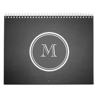 Rustic Chalkboard Background Monogram Calendar