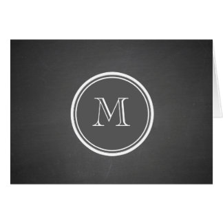Rustic Chalkboard Background Monogram Card