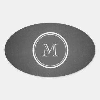 Rustic Chalkboard Background Monogram Oval Sticker