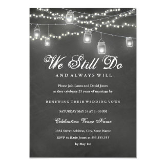 Rustic Chalkboard Backyard Vow Renewal Anniversary Card