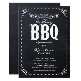 Rustic Chalkboard Birthday Party BBQ Invitation