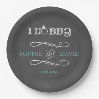 Rustic Chalkboard Burlap I DO BBQ Engagement Party Paper Plate