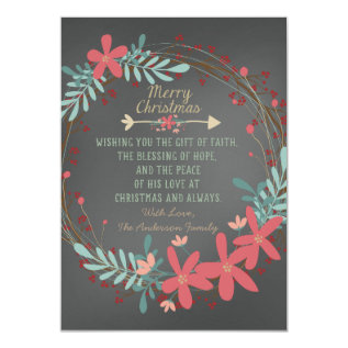 Rustic Chalkboard Christian Christmas Card at Zazzle