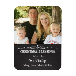 Rustic Chalkboard Christmas Blessing Photo Rectangular Magnets
