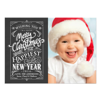 Rustic Chalkboard Christmas Holiday Photo Cards