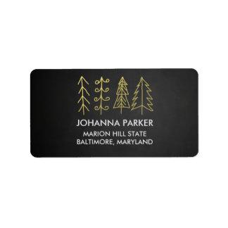 Rustic Chalkboard Christmas Trees Label