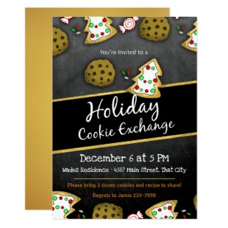 Rustic Chalkboard Cookie Exchange Invitation