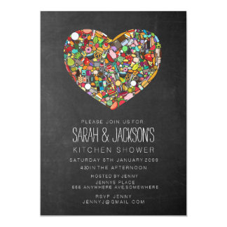 Rustic Chalkboard Couples Kitchen Shower Party 5x7 Paper Invitation Card
