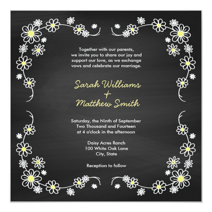 Rustic Daisy Wedding Invitations: Rustic Chalkboard Daisy Wedding Invitations
