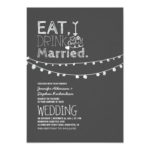1000 Images About Eat Drink And Be Married On Pinterest: Rustic Chalkboard Eat Drink And Be Married Wedding Card