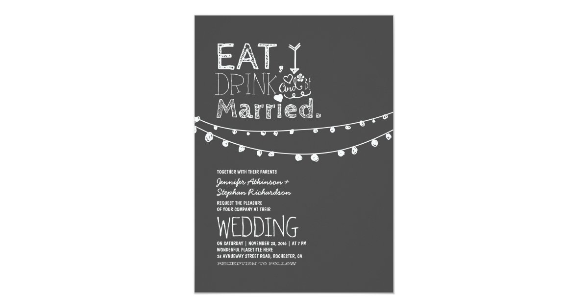 Wedding Invitations Eat Drink And Be Married: Rustic Chalkboard Eat Drink And Be Married Wedding
