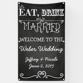 Rustic Chalkboard Eat Drink Be Married Wedding Banner