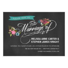 Rustic Chalkboard Floral Banner Wedding Invites
