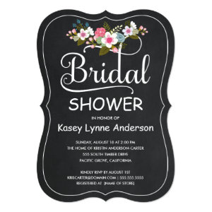 Rustic Chalkboard Floral Wreath Bridal Shower 5x7 Paper Invitation Card