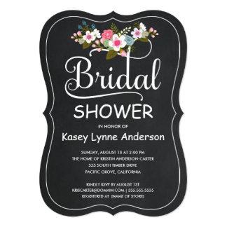Rustic Chalkboard Floral Wreath Bridal Shower Announcement