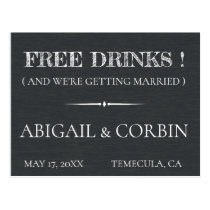 Rustic Chalkboard FREE DRINKS Save the Date Postcard