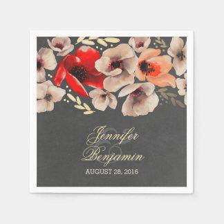 Rustic Chalkboard Gold Floral Wedding Paper Napkin