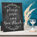 """Rustic Chalkboard Guestbook Sign Plaque<br><div class=""""desc"""">Guests will be flocking to your table to sign their names when they notice our Rustic Chalkboard Guestbook easel. It takes the guesswork out of where everyone should go to let you know that they were there for your big day! Takes all the guesswork out of knowing where to sign...</div>"""