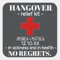 Rustic Chalkboard Hangover Relief Kit Favor Square Sticker