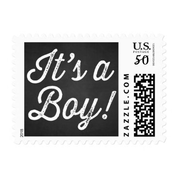 Toddler & Baby themed RUSTIC CHALKBOARD | IT'S A BOY BABY SHOWER STAMP
