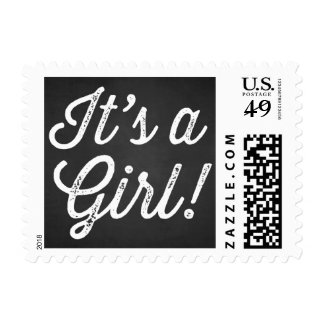 RUSTIC CHALKBOARD   IT'S A GIRL BABY SHOWER STAMP