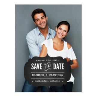 Rustic Chalkboard Label | Save the Date Postcard