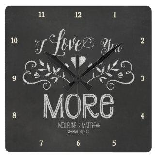 Rustic Chalkboard Leaf Heart Script Typography Square Wall Clocks