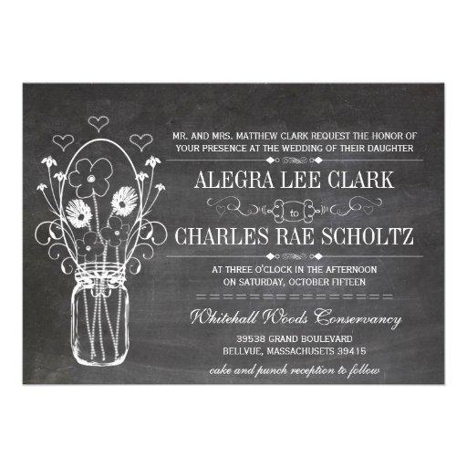 Rustic Chalkboard Mason Jar Vintage Typography Custom Invitation