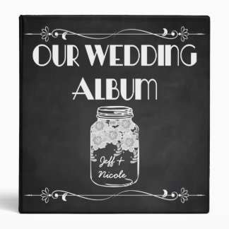 Rustic Chalkboard Mason Jar Wedding Photo Album Binder
