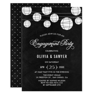 Rustic Chalkboard Paper Lanterns Engagement Party Card