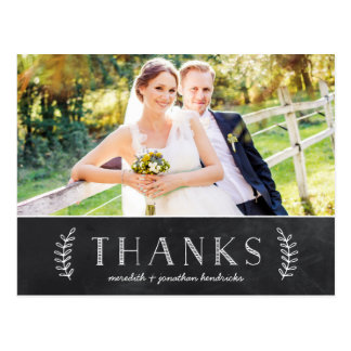 Rustic Chalkboard Photo Thank You Post Card
