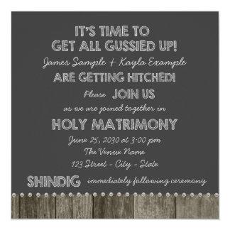 Rustic Chalkboard Redneck Wedding Invitations