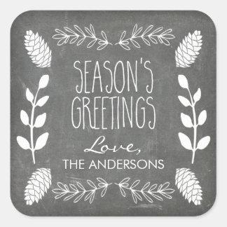 Rustic Chalkboard Season's Greetings Christmas Square Sticker