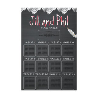 Rustic Chalkboard Seating Chart Canvas Print