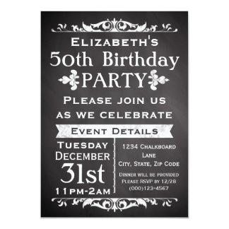 Rustic Chalkboard Slate 50th Birthday Party Card