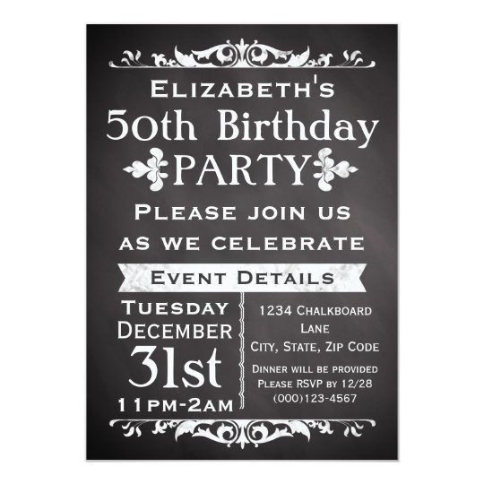 Rustic Chalkboard Slate 50th Birthday Party Card