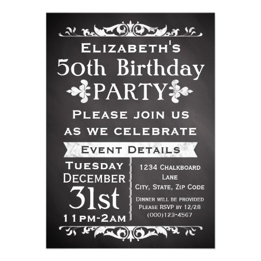 Rustic Chalkboard Slate 50th Birthday Party Announcement