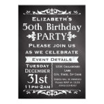 Rustic Chalkboard Slate 50th Birthday Party 5x7 Paper Invitation Card
