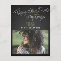 Rustic Chalkboard Typography Holiday Photo